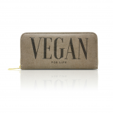 "Taupe Wallet ""Vegan for life"""